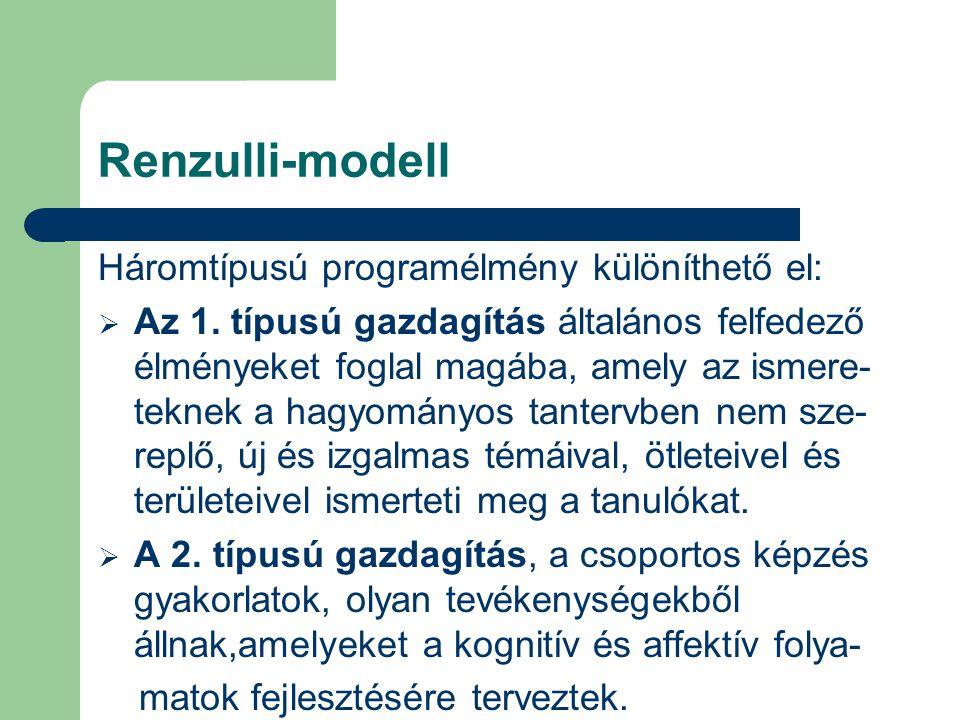 Renzulli-modell Háromtípusú programélmény különíthető el: