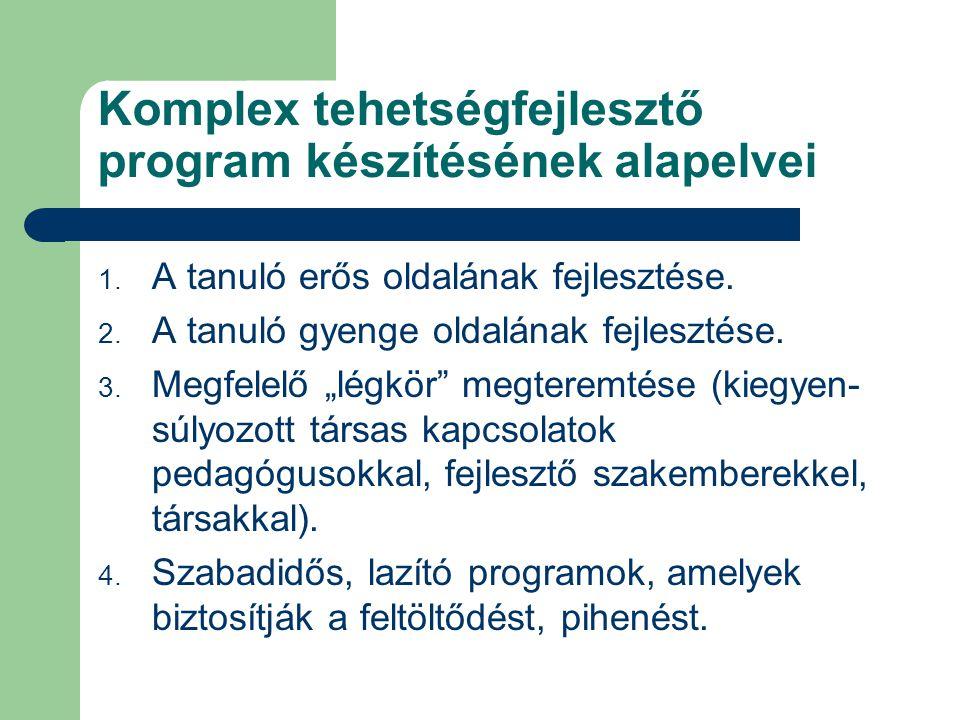 Komplex tehetségfejlesztő program készítésének alapelvei