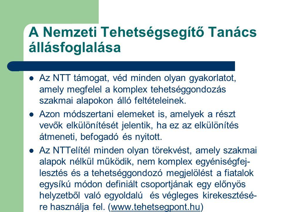 A Nemzeti Tehetségsegítő Tanács állásfoglalása