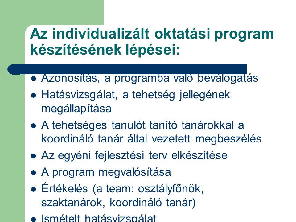 Az individualizált oktatási program készítésének lépései: