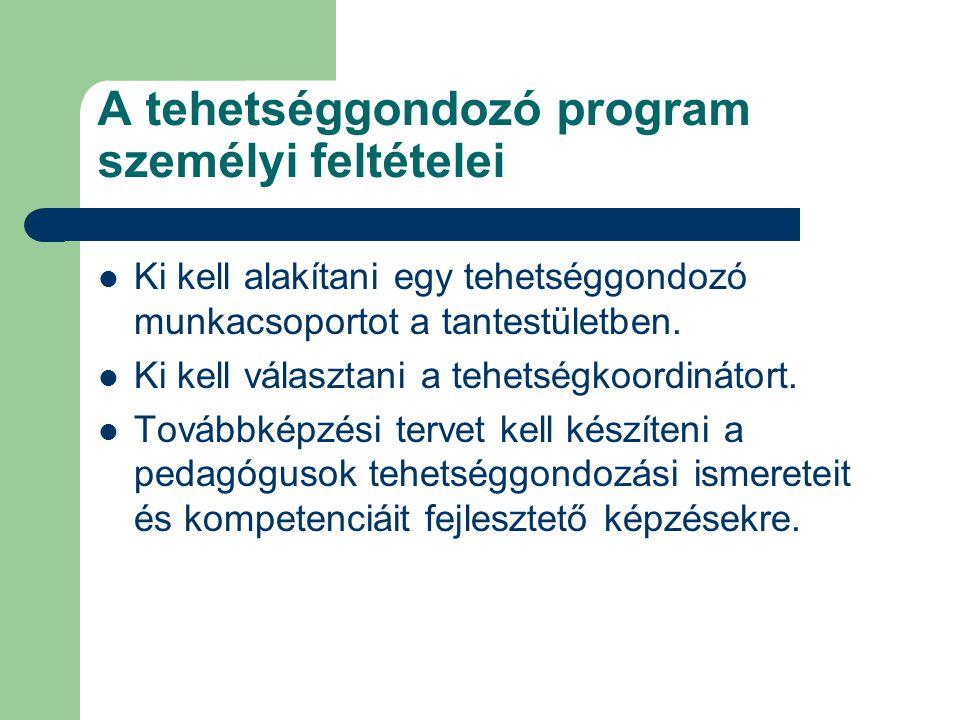 A tehetséggondozó program személyi feltételei