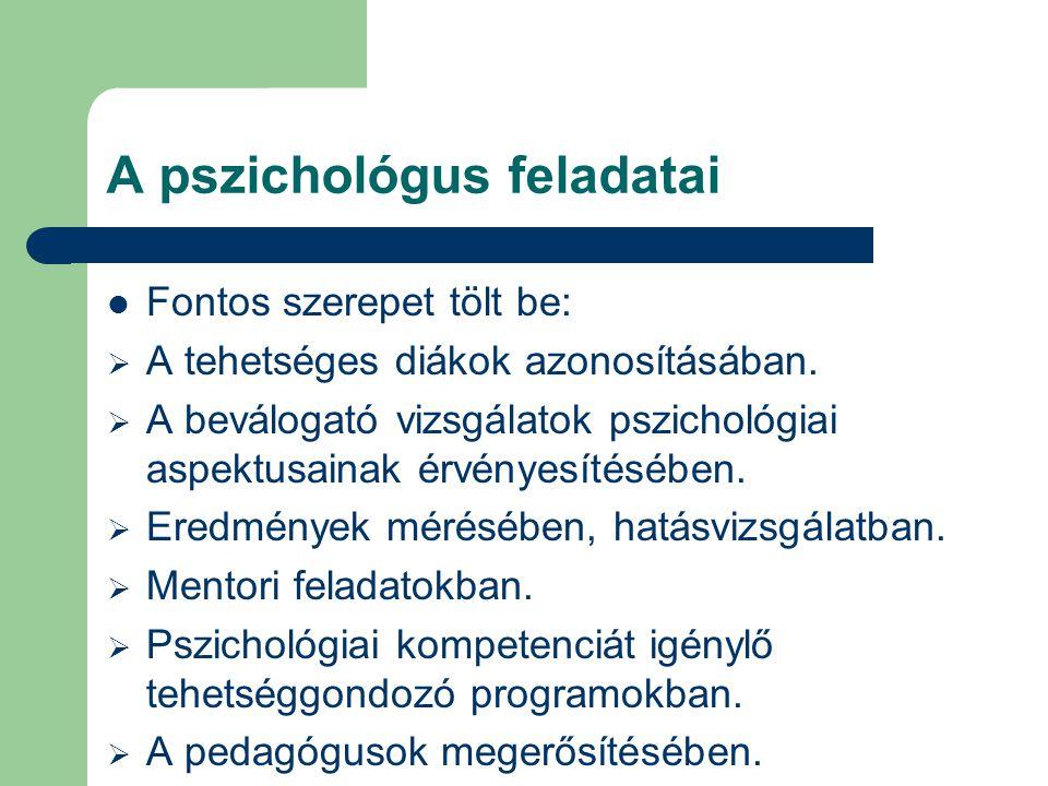 A pszichológus feladatai