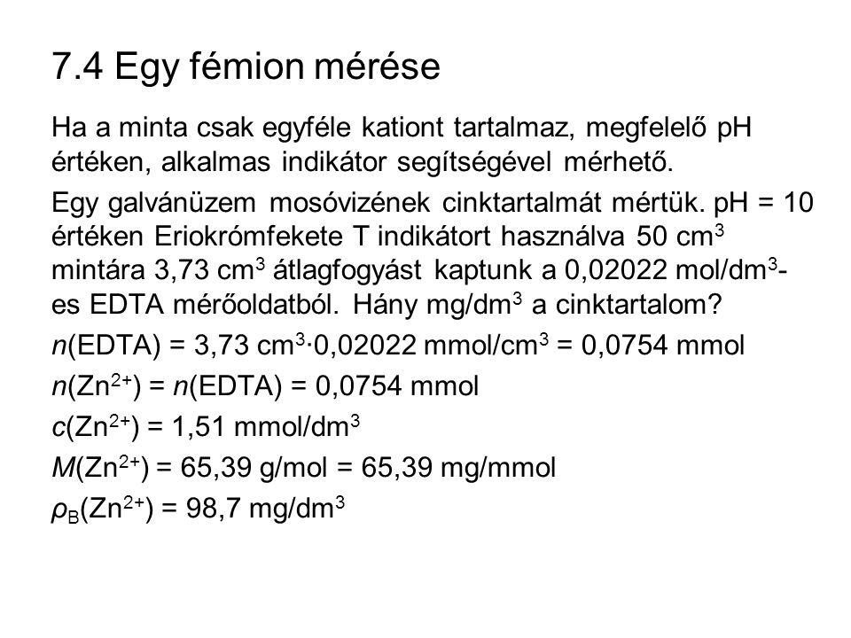 7.4 Egy fémion mérése Ha a minta csak egyféle kationt tartalmaz, megfelelő pH értéken, alkalmas indikátor segítségével mérhető.