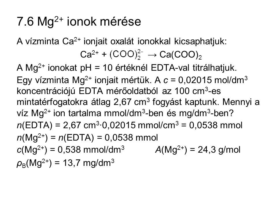 7.6 Mg2+ ionok mérése A vízminta Ca2+ ionjait oxalát ionokkal kicsaphatjuk: Ca2+ + → Ca(COO)2.