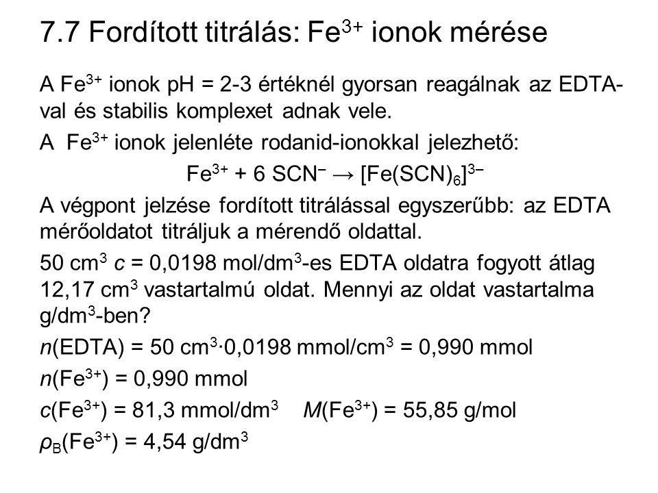 7.7 Fordított titrálás: Fe3+ ionok mérése
