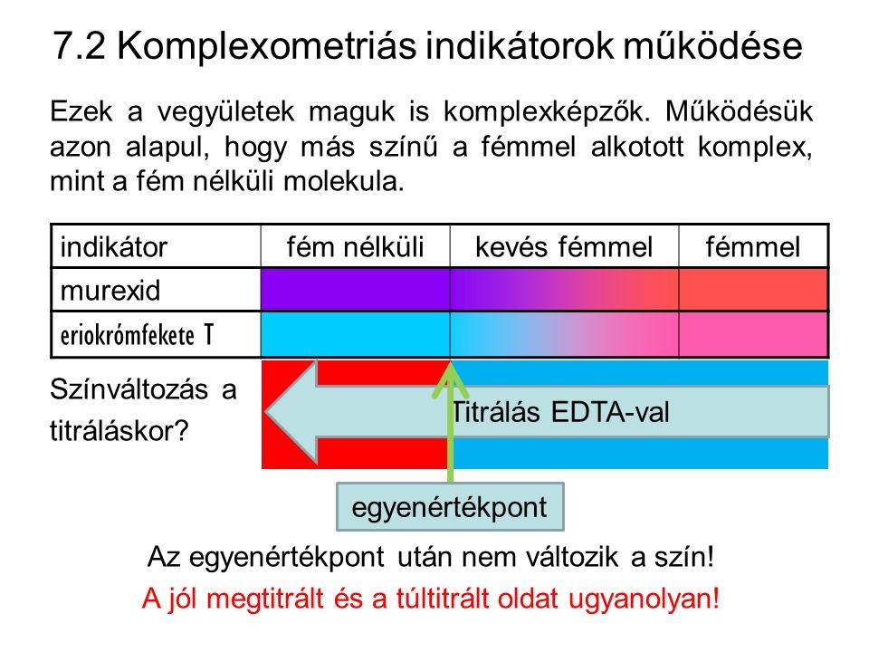 7.2 Komplexometriás indikátorok működése
