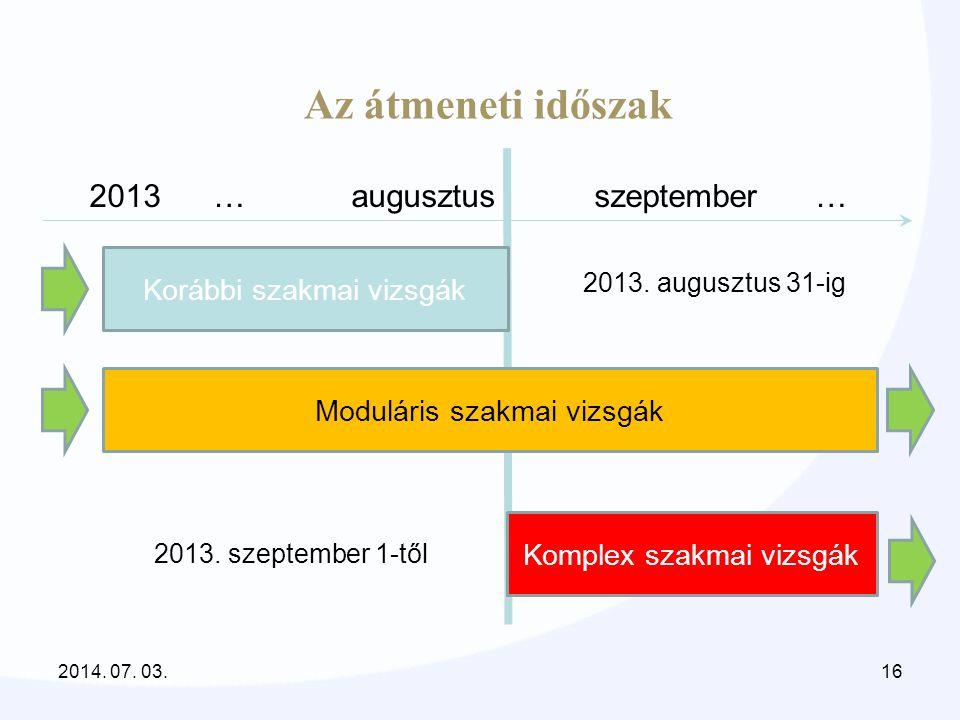 Az átmeneti időszak 2013 … augusztus szeptember …