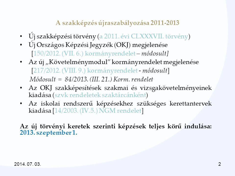 A szakképzés újraszabályozása 2011-2013