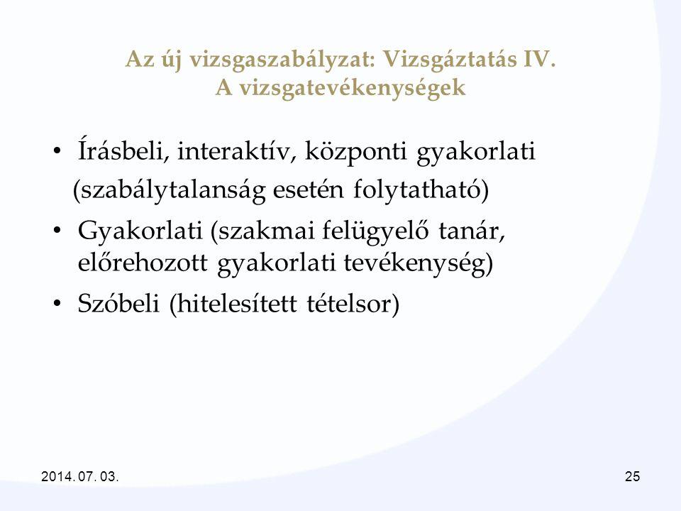 Az új vizsgaszabályzat: Vizsgáztatás IV. A vizsgatevékenységek