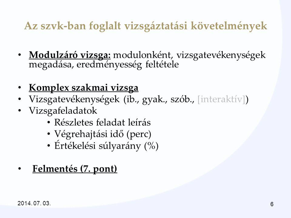 Az szvk-ban foglalt vizsgáztatási követelmények