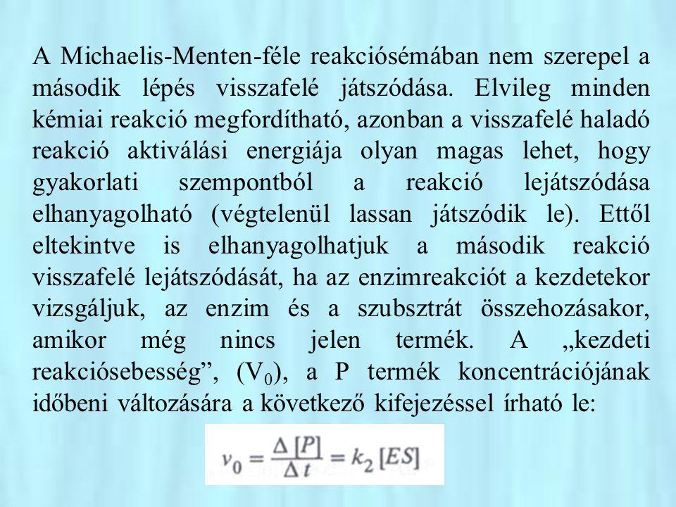 A Michaelis-Menten-féle reakciósémában nem szerepel a második lépés visszafelé játszódása.