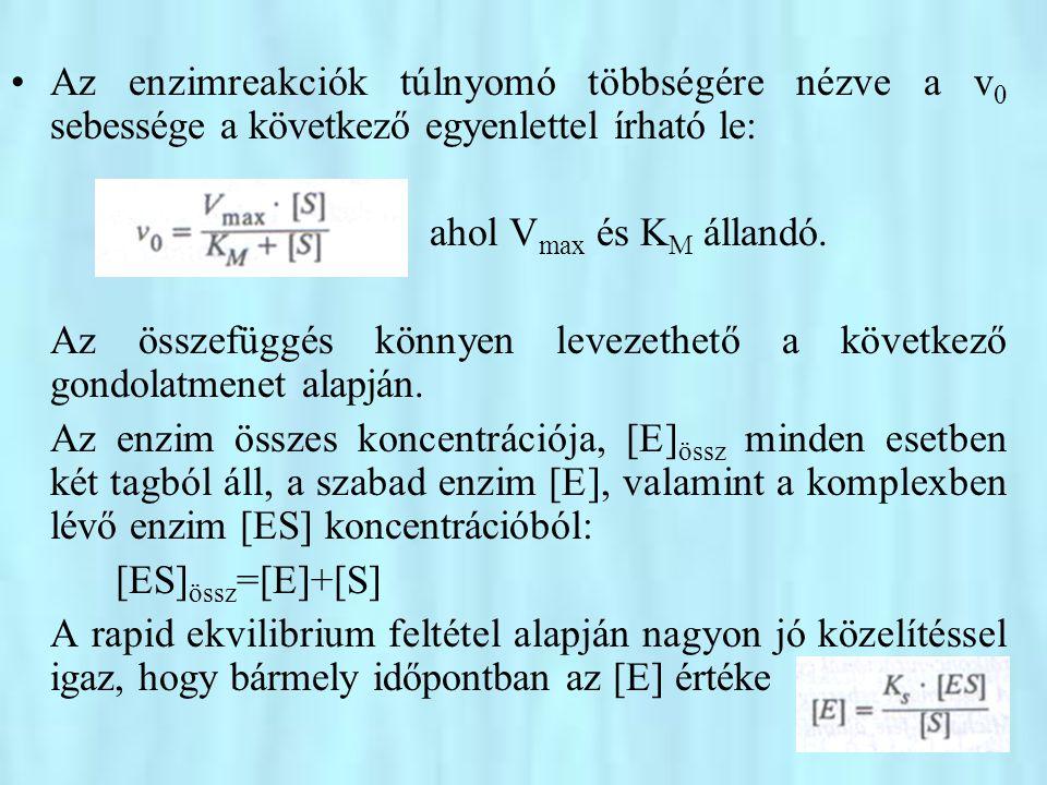 Az enzimreakciók túlnyomó többségére nézve a v0 sebessége a következő egyenlettel írható le: