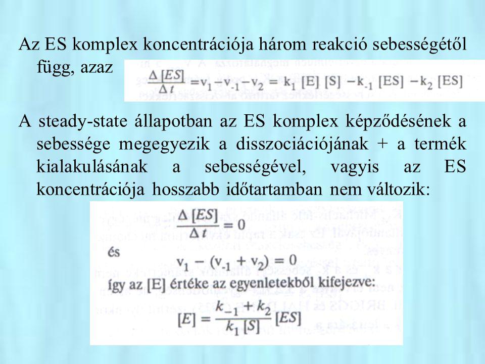 Az ES komplex koncentrációja három reakció sebességétől függ, azaz