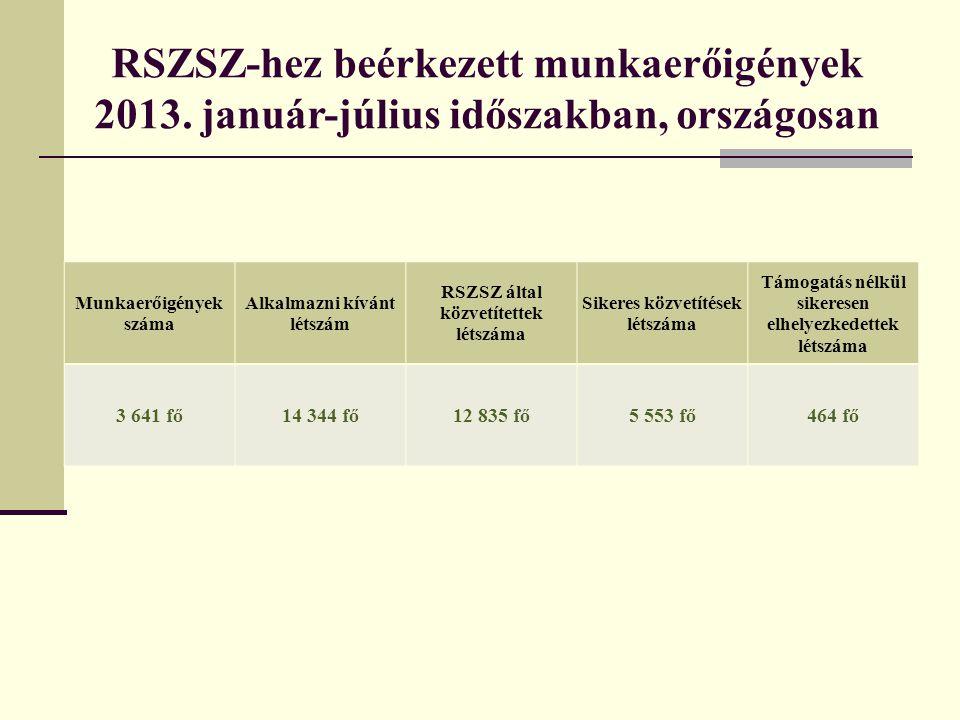 RSZSZ-hez beérkezett munkaerőigények 2013