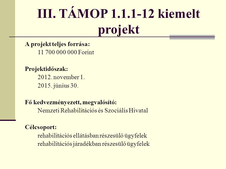 III. TÁMOP 1.1.1-12 kiemelt projekt