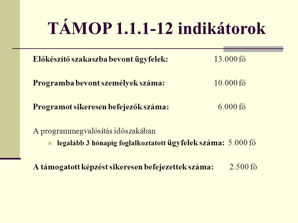 TÁMOP 1.1.1-12 indikátorok Előkészítő szakaszba bevont ügyfelek: 13.000 fő. Programba bevont személyek száma: 10.000 fő.