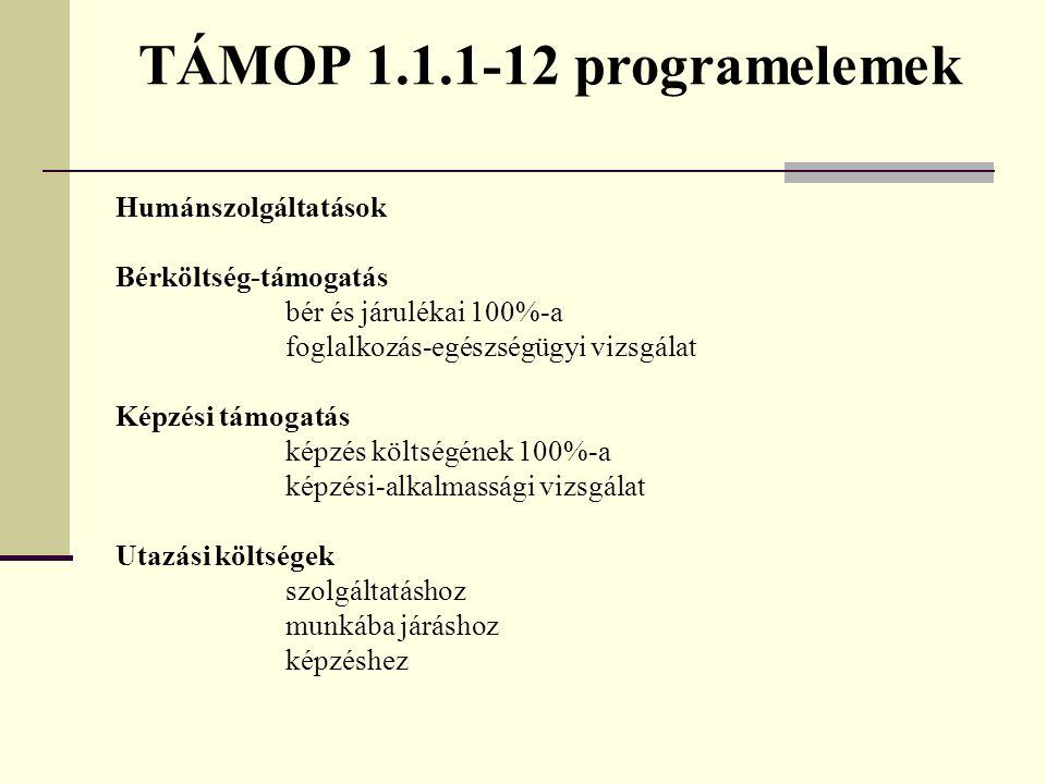 TÁMOP 1.1.1-12 programelemek Humánszolgáltatások Bérköltség-támogatás