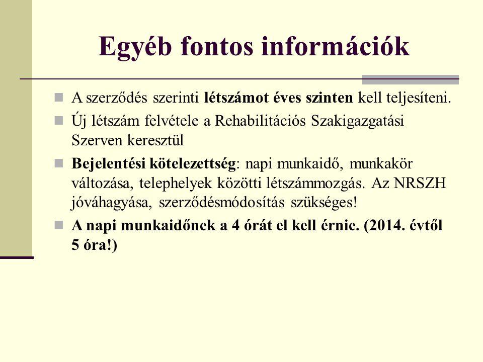 Egyéb fontos információk