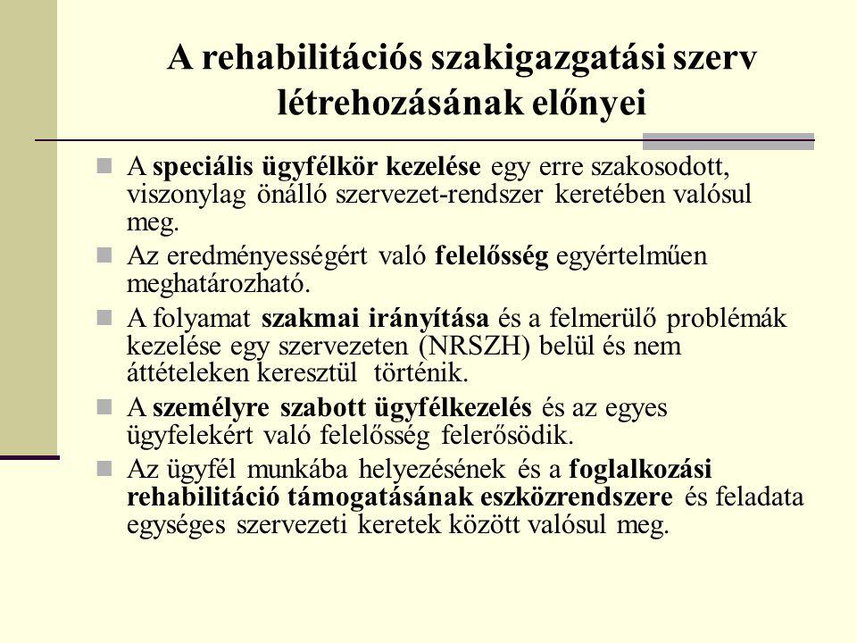 A rehabilitációs szakigazgatási szerv létrehozásának előnyei