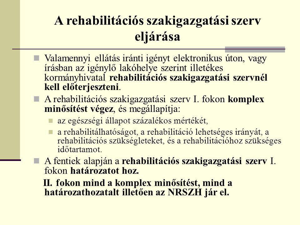 A rehabilitációs szakigazgatási szerv eljárása