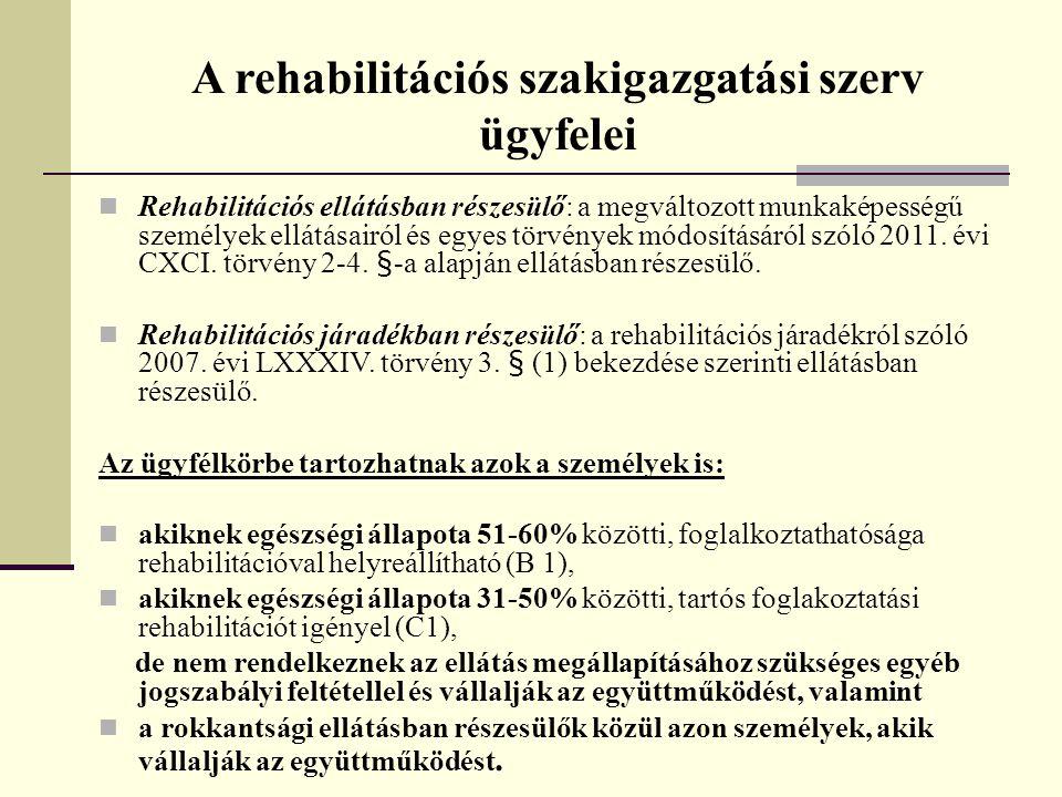 A rehabilitációs szakigazgatási szerv ügyfelei