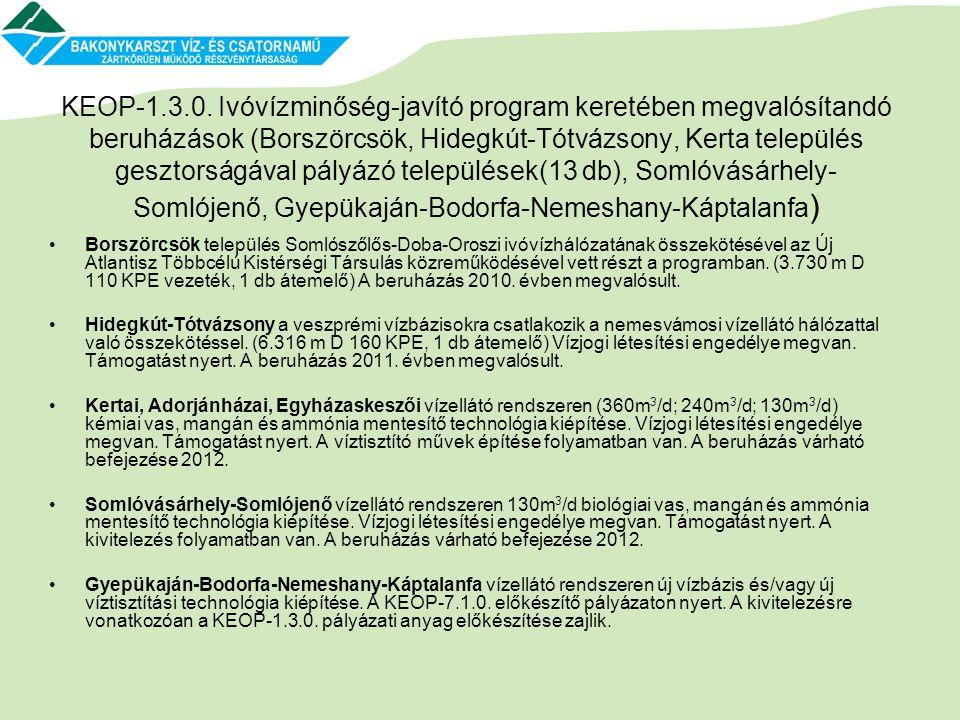 KEOP-1.3.0. Ivóvízminőség-javító program keretében megvalósítandó beruházások (Borszörcsök, Hidegkút-Tótvázsony, Kerta település gesztorságával pályázó települések(13 db), Somlóvásárhely-Somlójenő, Gyepükaján-Bodorfa-Nemeshany-Káptalanfa)