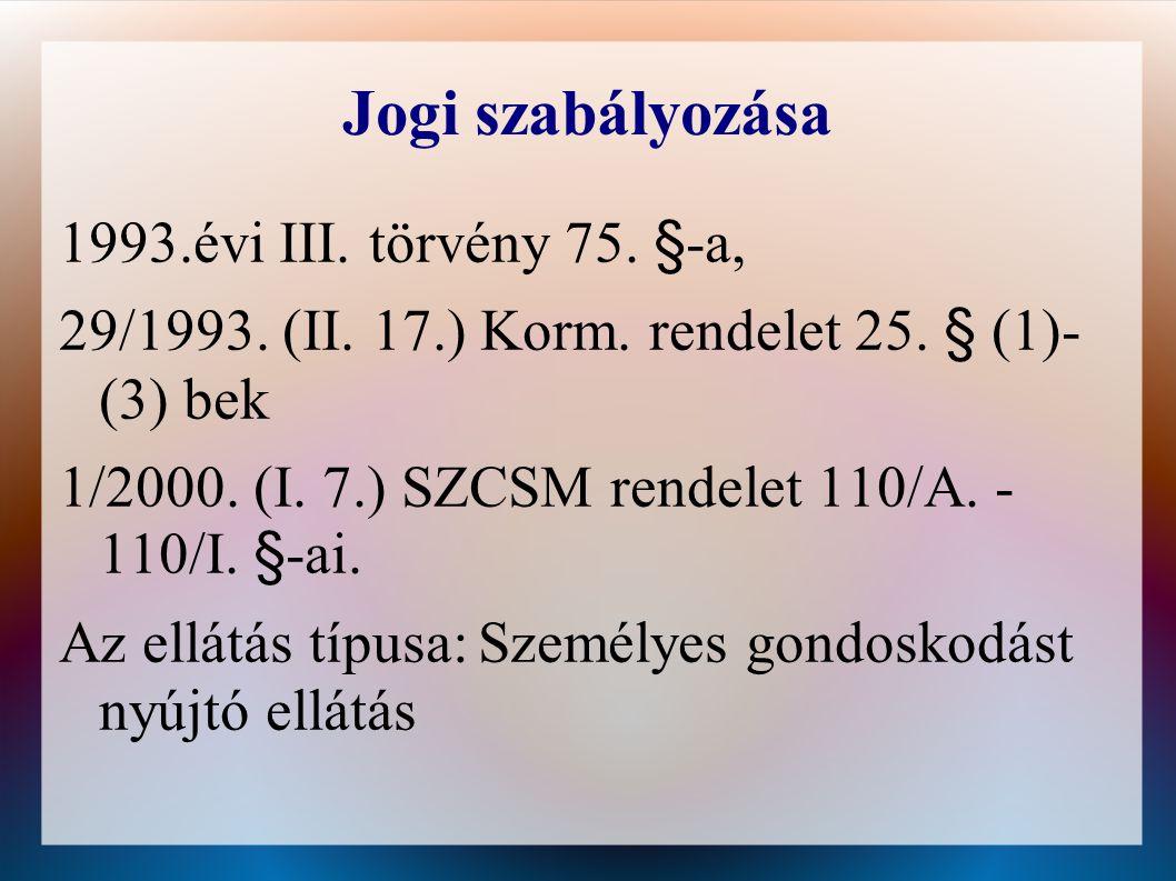 Jogi szabályozása 1993.évi III. törvény 75. §-a,