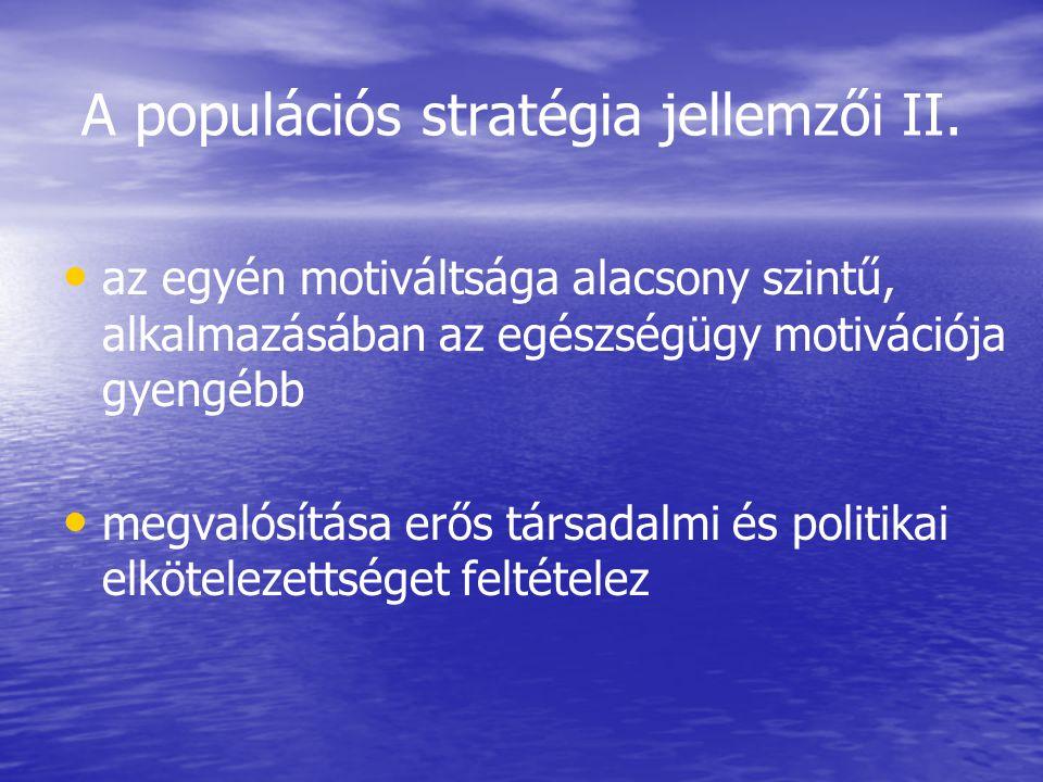 A populációs stratégia jellemzői II.