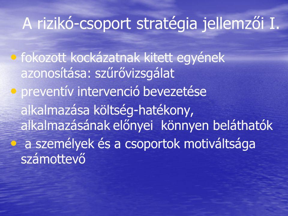 A rizikó-csoport stratégia jellemzői I.