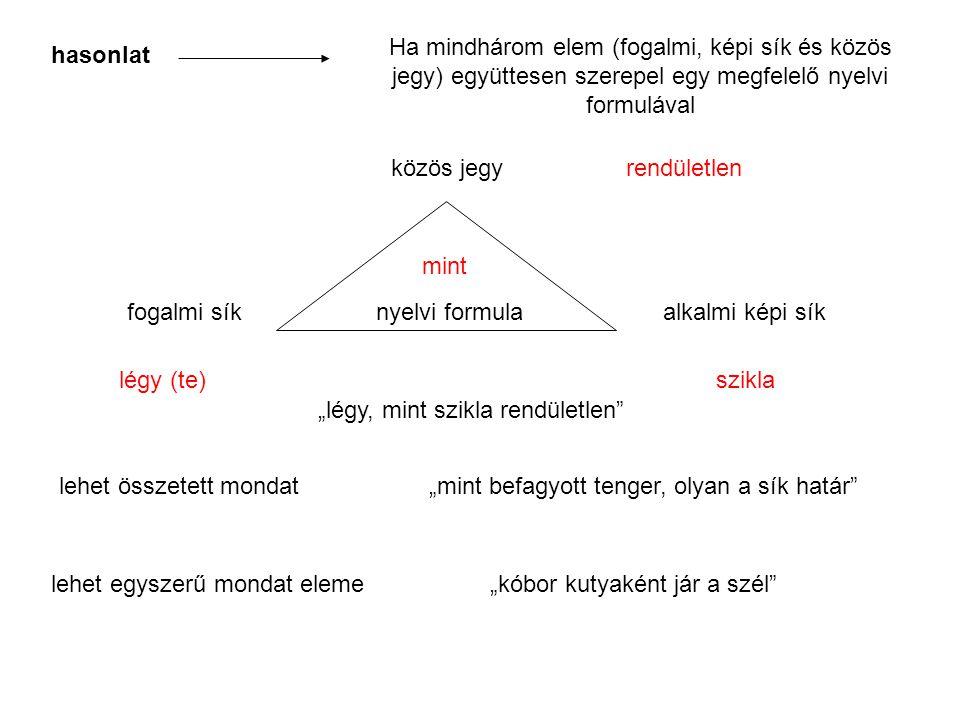 Ha mindhárom elem (fogalmi, képi sík és közös jegy) együttesen szerepel egy megfelelő nyelvi formulával