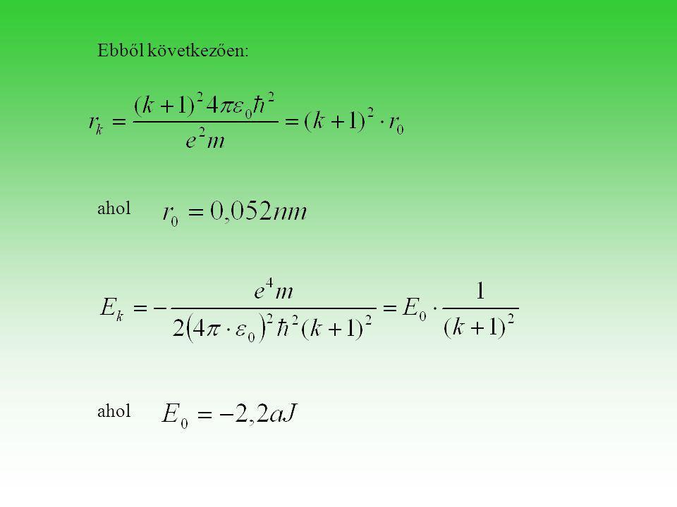 A hidrogénatom elektronjának lehetséges állapotait energia és méret szempontjából az n = k + 1 természetes szám határozza meg. Ezt a számot főkvantumszámnak nevezzük.