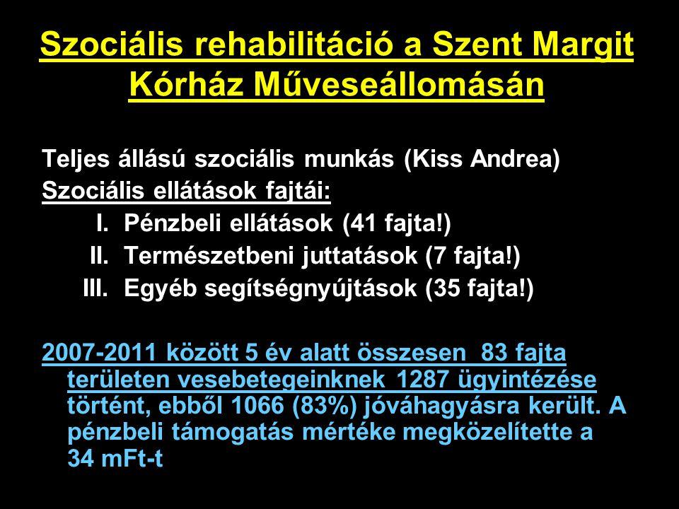 Szociális rehabilitáció a Szent Margit Kórház Műveseállomásán