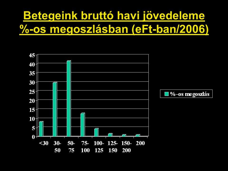 Betegeink bruttó havi jövedeleme %-os megoszlásban (eFt-ban/2006)