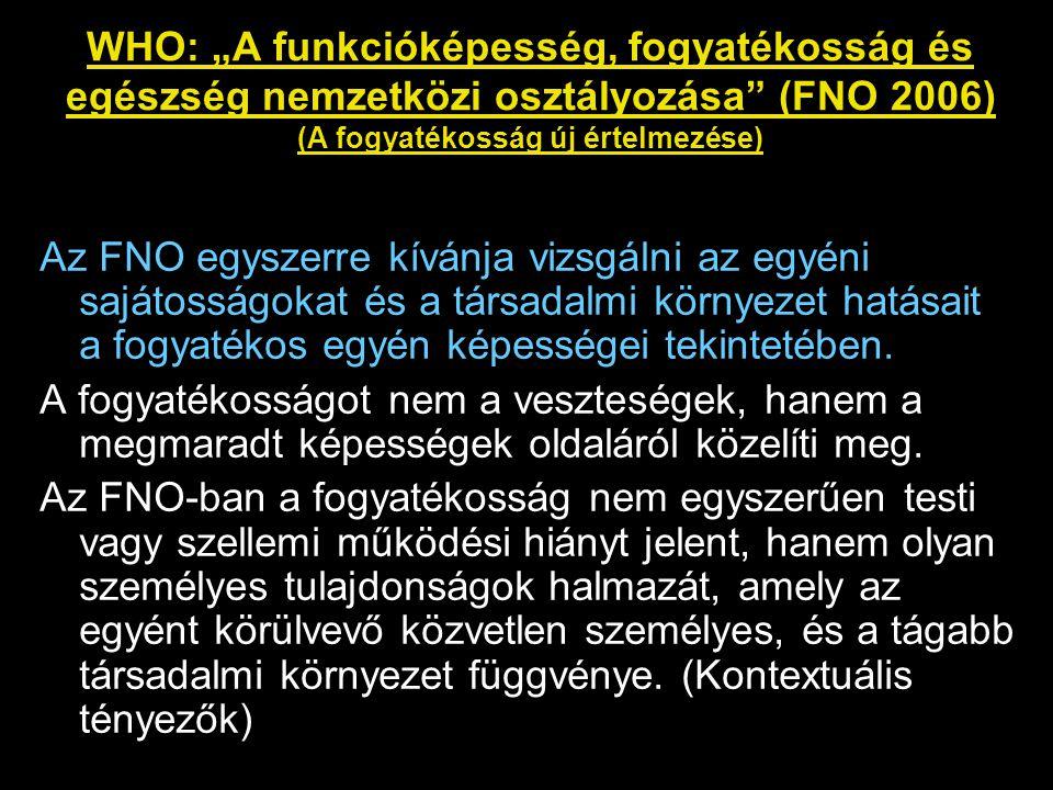 """WHO: """"A funkcióképesség, fogyatékosság és egészség nemzetközi osztályozása (FNO 2006) (A fogyatékosság új értelmezése)"""