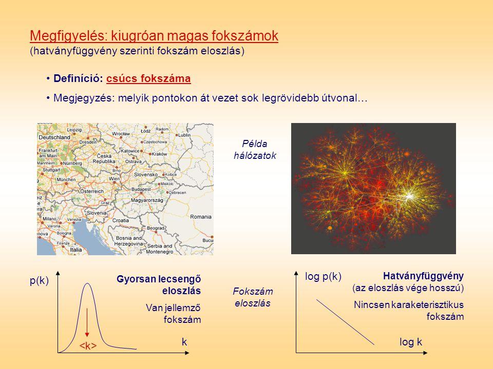 Megfigyelés: kiugróan magas fokszámok (hatványfüggvény szerinti fokszám eloszlás)