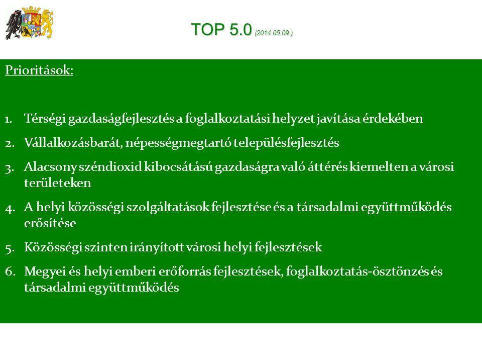 TOP 5.0 (2014.05.09.) Prioritások: Térségi gazdaságfejlesztés a foglalkoztatási helyzet javítása érdekében.