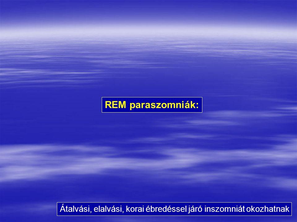 REM paraszomniák: Átalvási, elalvási, korai ébredéssel járó inszomniát okozhatnak