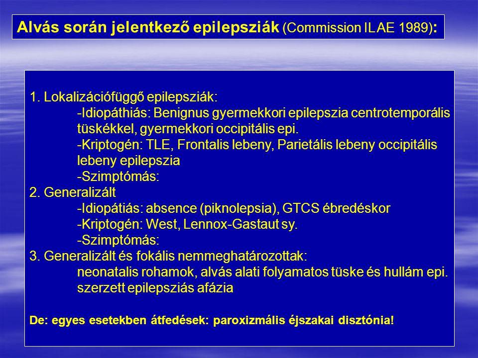 Alvás során jelentkező epilepsziák (Commission IL AE 1989):