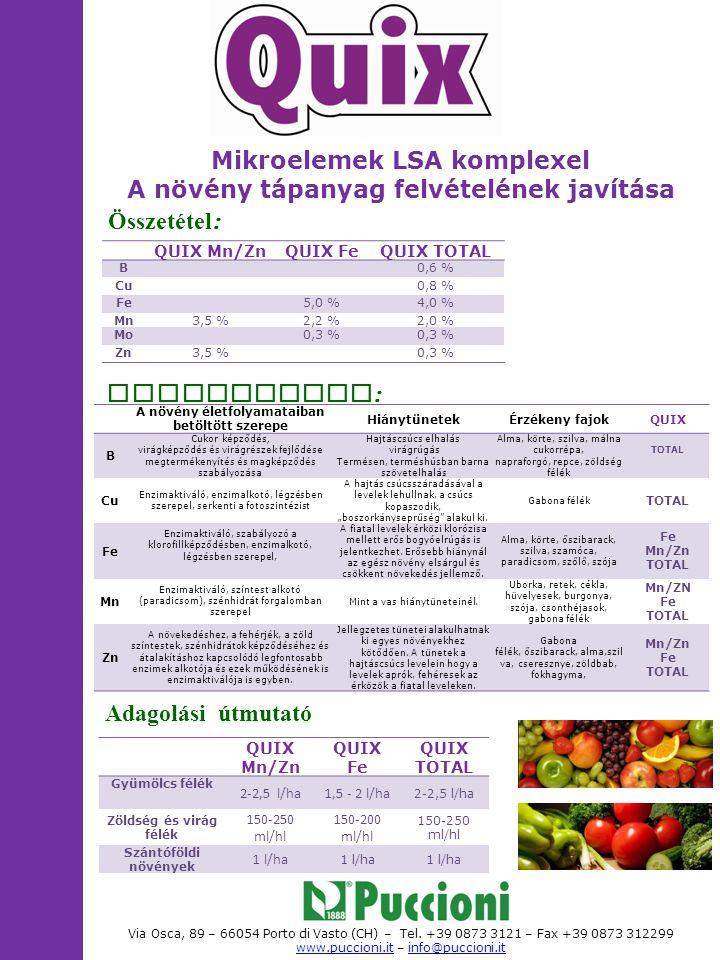 Mikroelemek LSA komplexel A növény tápanyag felvételének javítása