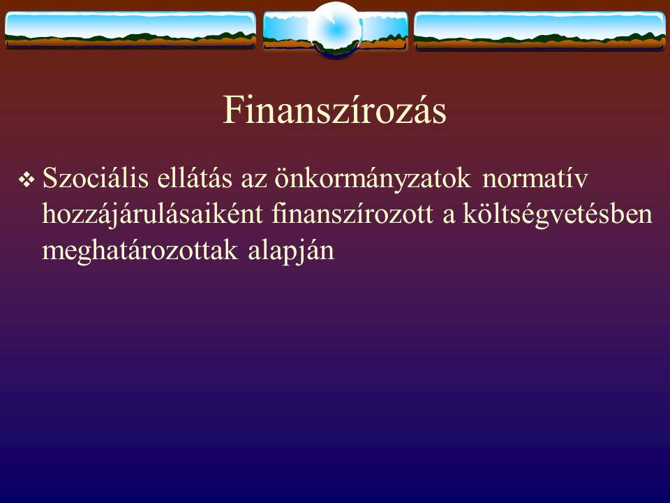 Finanszírozás Szociális ellátás az önkormányzatok normatív hozzájárulásaiként finanszírozott a költségvetésben meghatározottak alapján.