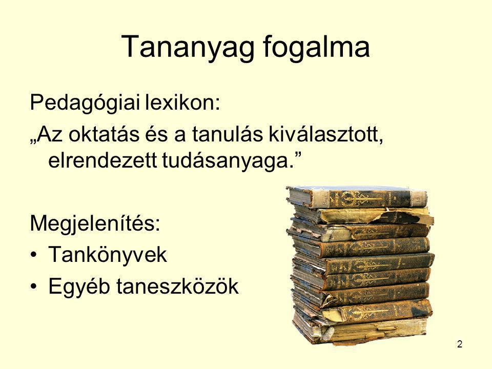 Tananyag fogalma Pedagógiai lexikon: