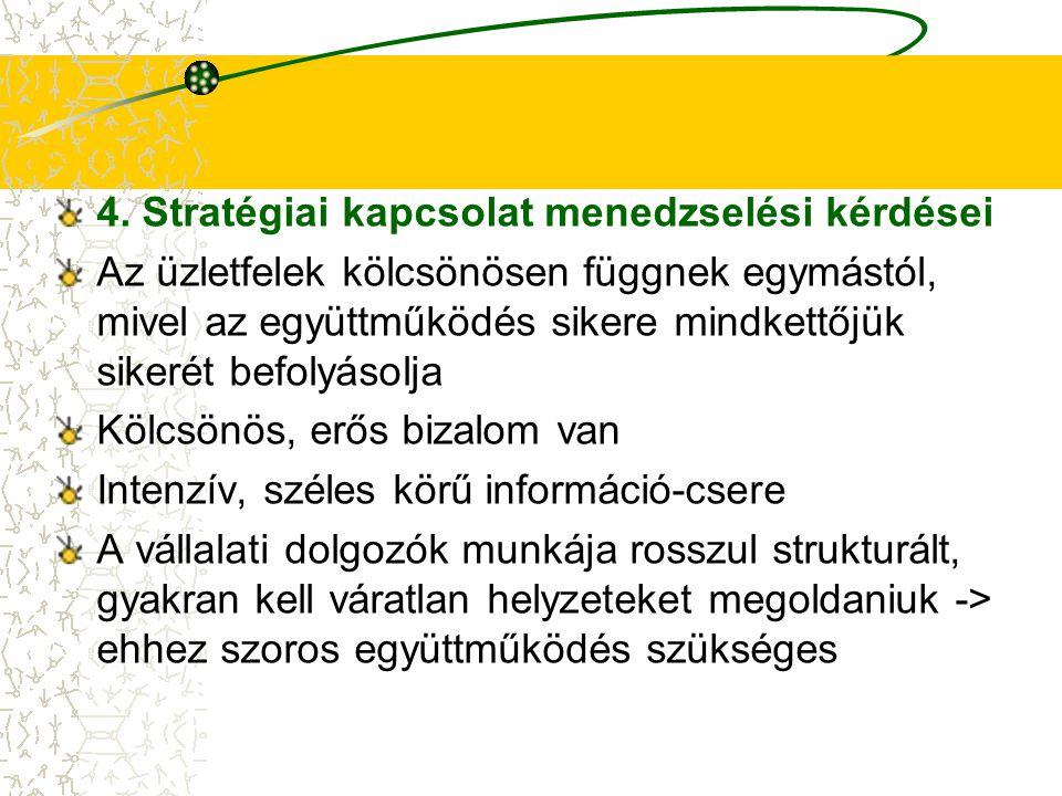4. Stratégiai kapcsolat menedzselési kérdései