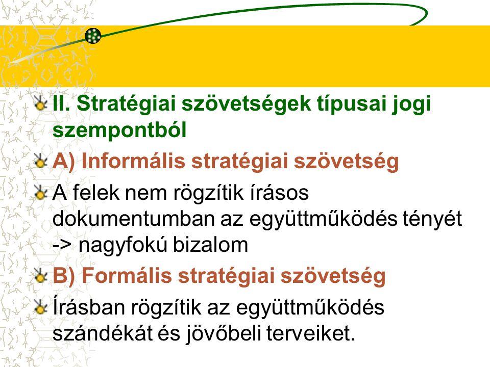 II. Stratégiai szövetségek típusai jogi szempontból
