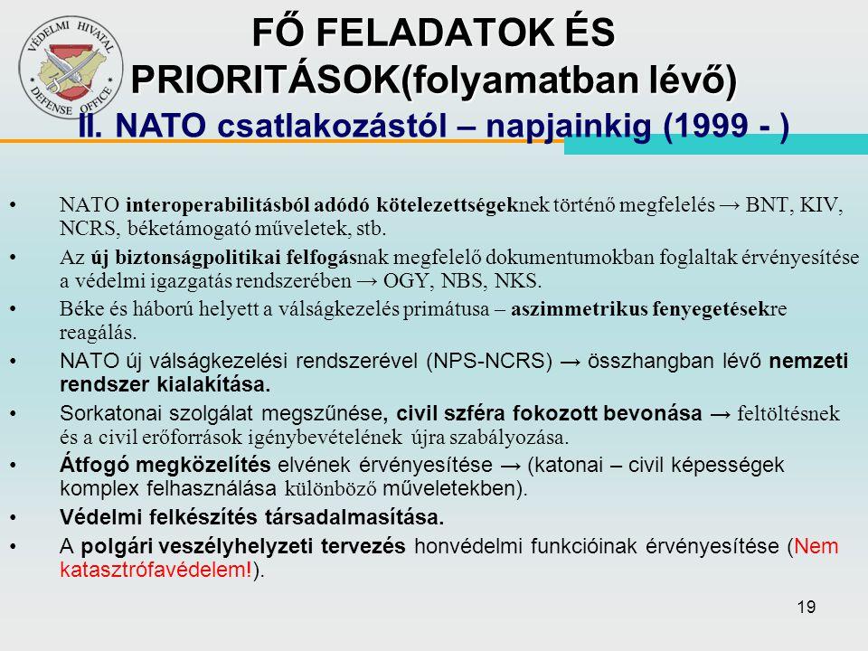 FŐ FELADATOK ÉS PRIORITÁSOK(folyamatban lévő)