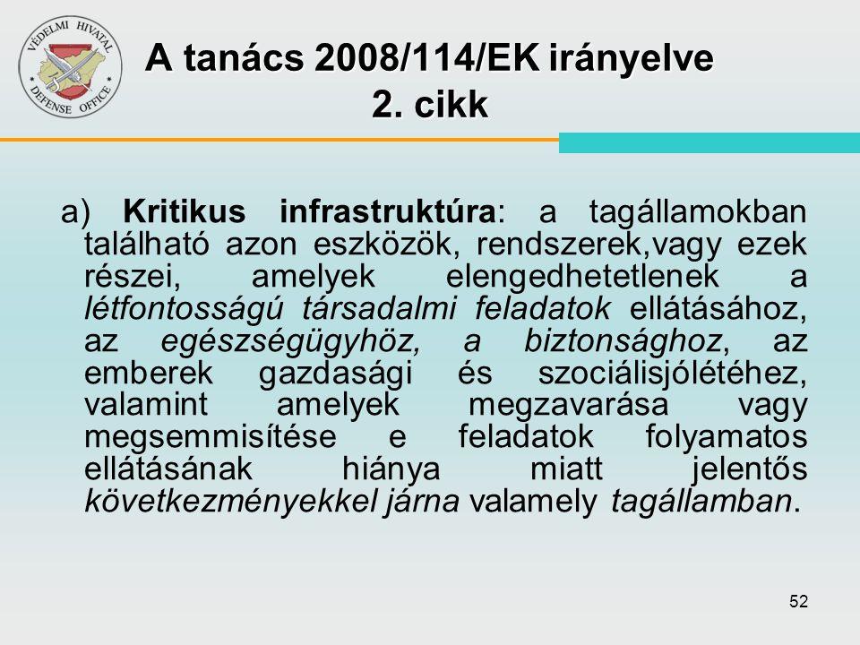A tanács 2008/114/EK irányelve 2. cikk