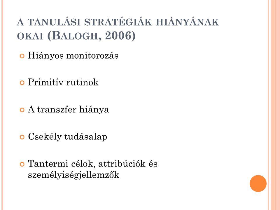 a tanulási stratégiák hiányának okai (Balogh, 2006)