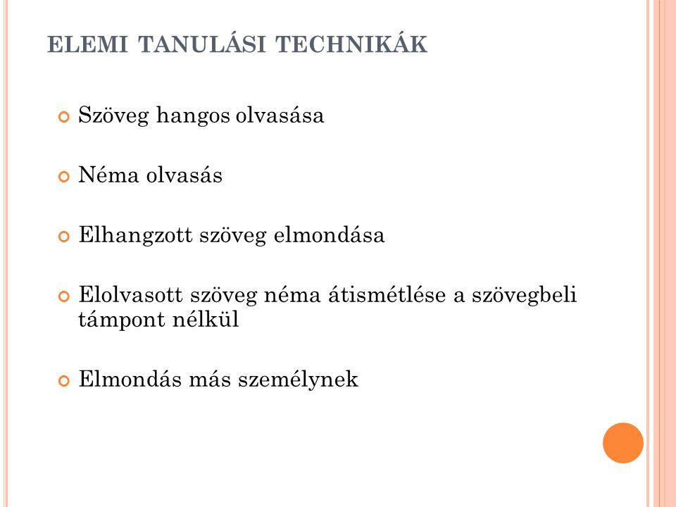 elemi tanulási technikák