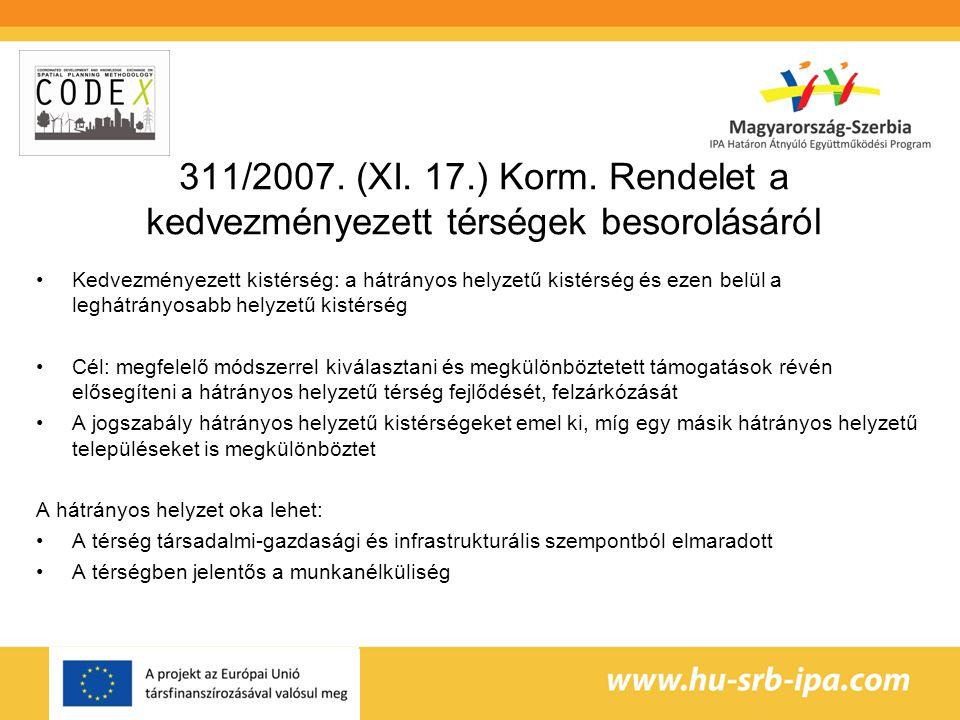 311/2007. (XI. 17.) Korm. Rendelet a kedvezményezett térségek besorolásáról