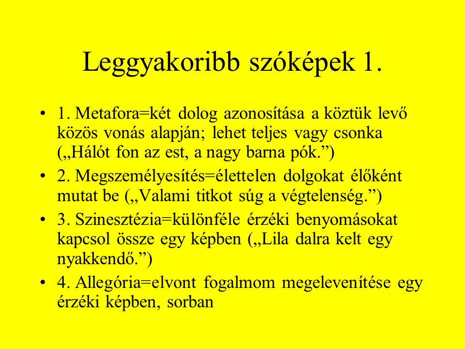 Leggyakoribb szóképek 1.