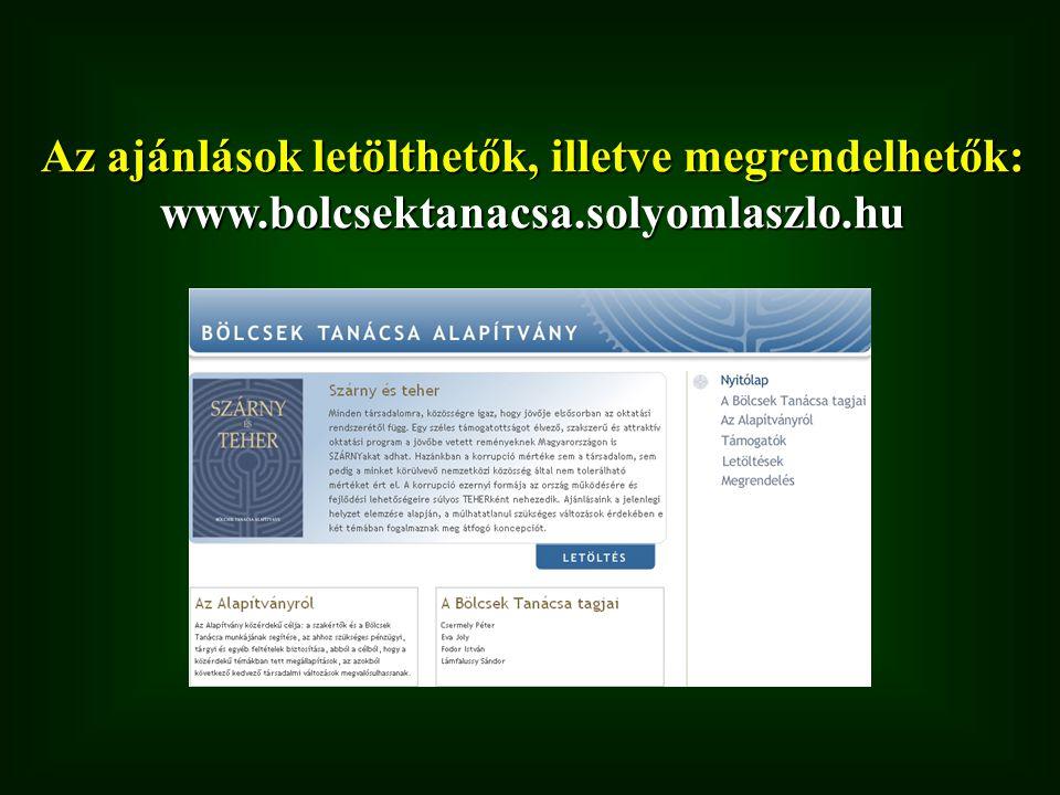 Az ajánlások letölthetők, illetve megrendelhetők: www. bolcsektanacsa